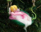 Guardian angel with Baby Mobile, Needle Felted Hanging Mobile, Baby Present, Fairy Mobile-Made to Order