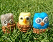 OWL- Little cute Owl Friends, Pocket Size, Take along toys with Crocheted Nests - Felt Animal, Set of three