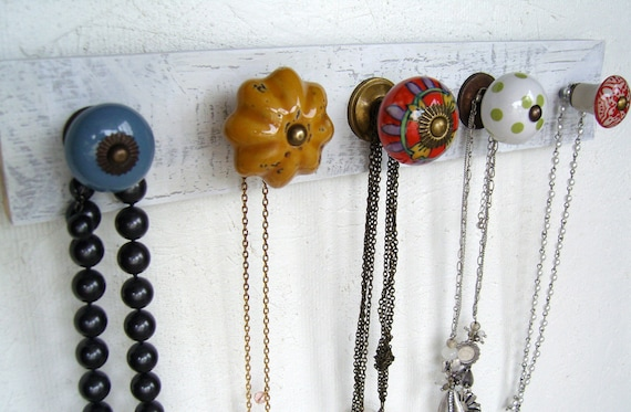 Dusty Blue, Mustard Yellow, Red, and Green Necklace Organizer