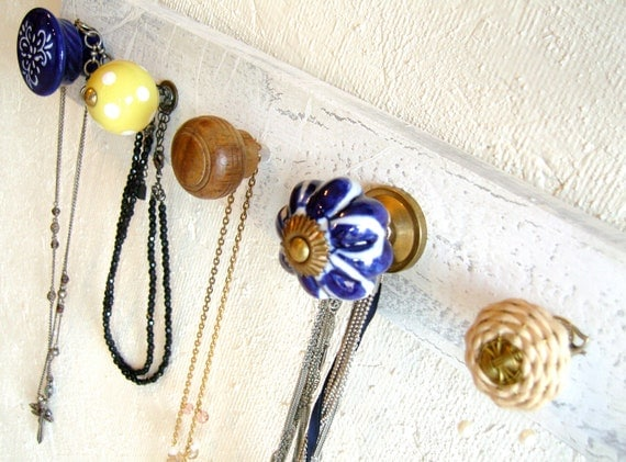Back to School / Dorm Decor / Yellow and Navy Jewelry Organizer