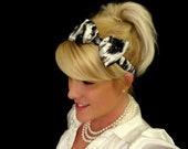 Silver and black sparkle animal print silk bow headband for adult/kids