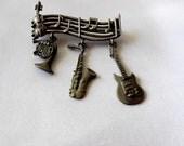 Vintage Musical Instrument Brooch by JJ