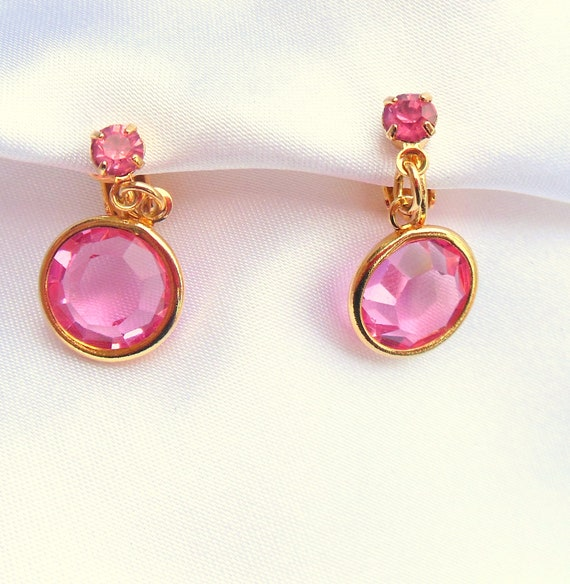 Vintage Pink Rhinestone Earrings