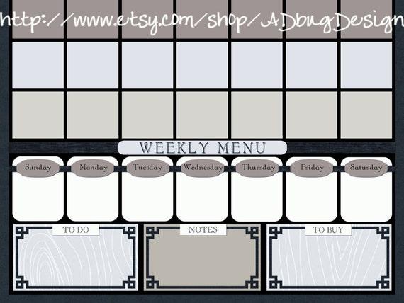 Juliet Calendar 16x20 - Printable Dry Erase Calendar - High Resolution JPG - Command Center