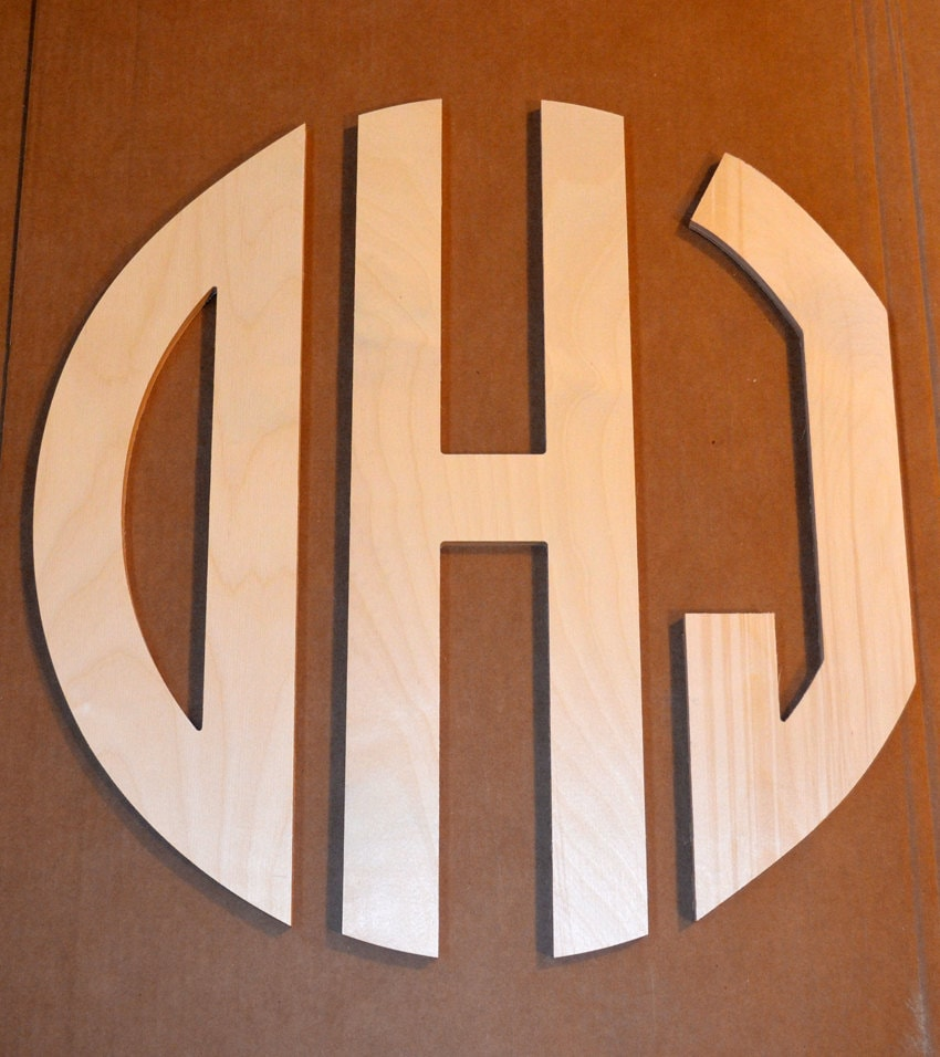 26 inch large 3 wooden monogram letter circle wooden With 3 wooden letters