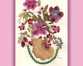 Art Print 012 of Original Collage Floral Luli- Pressed Flower -Floral Art with sequins, little stars