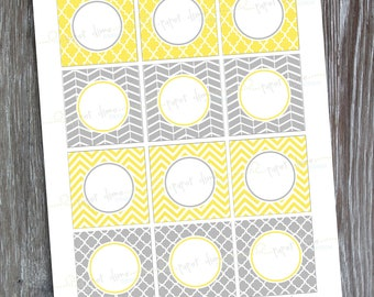 INSTANT DOWNLOAD - Editable and printable 2 inch party circles: Yellow and Gray - Type your own text and print