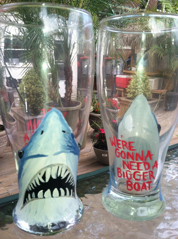 Hand Painted Beer Glasses: JAWS
