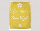 Inspirational Print - You are Beautiful - Yellow - Printable Digital File 10 x 8 inches INSTANT DOWNLOAD