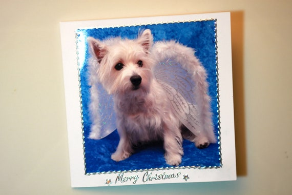 BEAUTIFUL Handmade Christmas Card with envelope. Proceeds to WESTIE RESCUE