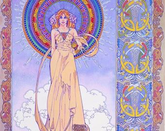 Fine Art Print ERIU 23x16. Art Nouveau, Fantasy Art, Celtic Art, Print, Goddess, Ireland, Irish, Original Painting, Goddess, Celtic design.