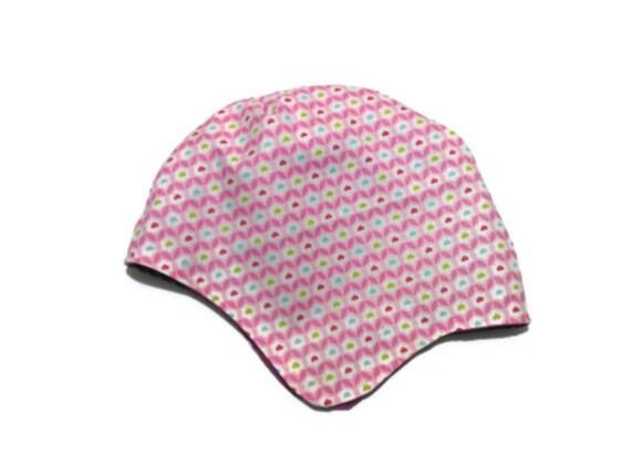 Girls bonnet hat aged 1-2 pretty pink cotton reverses to purple