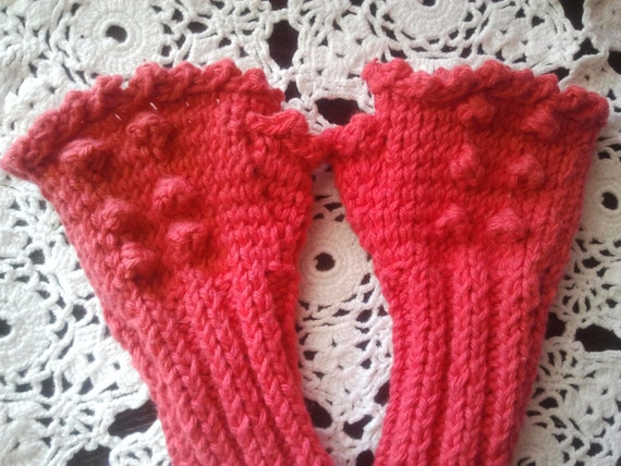 Fingerless Knitted Cotton Gloves - Girls sizes 2-4