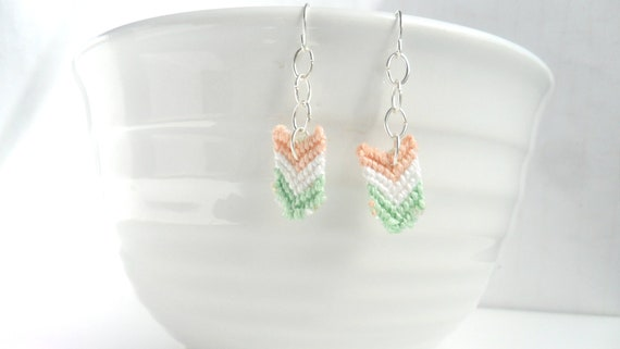 Chevron Dangle Earrings - Mint and Peach and Mint Earrings Delicate Soft Summer Colors Beach Summer Jewelry Fashion Pookie Design
