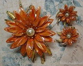 Vintage Brooch Earring Set Layered Flower Orange Enamel