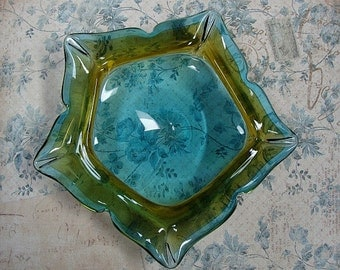 Vintage Ashtray Five Point Star Shape Heavy Glass