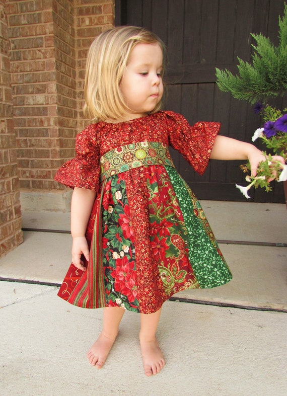 Child S Stripwork Peasant Dress For Christmas Girls