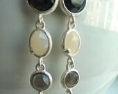 SALE- Black  Smoky Grey Opaque White Silver Bezeled Oval Charm  Dangle Jewel Earrings I 154