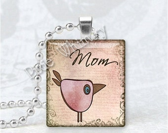 MOM Pendant, Mother Pendant, Bird, Scrabble Tile Art Pendant Charm Jewelry