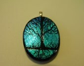 Fused DICHROIC ETCHED TREE Glass Pendant  .  7015