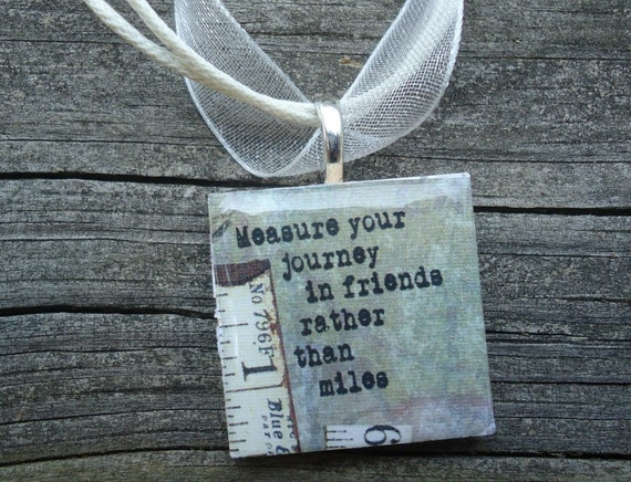 Measure Your Friends : A pendant charm necklace made from a wood square