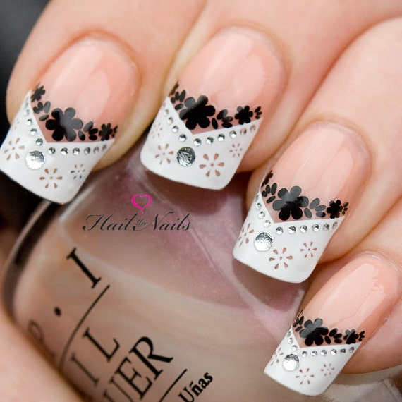French Nail Art Tips Wrap Stickers Black Daisy inc Crystals - Easy to Apply YD809 Salon Quality