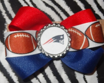 Sporty Bottlecap Bowtie Football New England Patriots Logo Hair Bow on Lined Alligator Clip