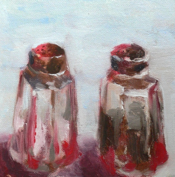 "Salt & Pepper - Oil Still Life Painting 6x6"" Original Artwork"