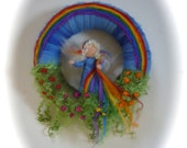 Rainbow Wreath.Rainbow Fairy . Needle Felted. Waldorf.Wool.