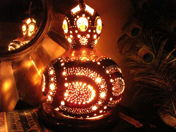 Carved and Stained Gourd lamp with bead accents