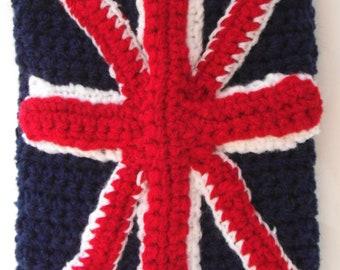Handmade crochet Union Jack Kindle / eReader / 7 inch tablet cover - British