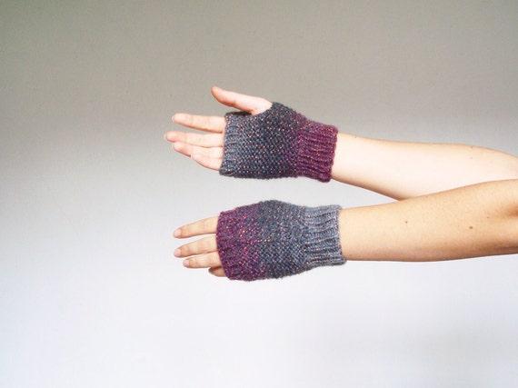"Women knit fingerless gloves ""Vice versa"" - ombre gray and purple - hand warmers, wrist warmers"
