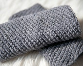 Beaded Cuffs / Wrist Warmers / Merino / Gray