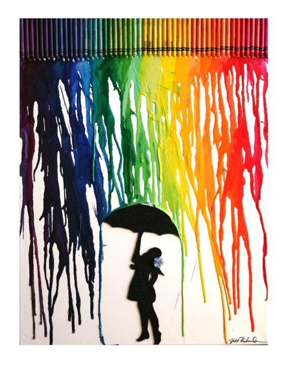 Ähnliche Artikel wie Geschmolzene Crayon Kunst - Mädchen ...  Ähnliche Artik...