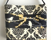 Medium Quilted Tote bag Back Aviary II Damask patchwork purse with horizontal stripes 10%off