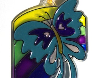 ORNAMENT - Butterfly & Rainbow - Acrylic - Blue - Purple - Green - Yellow - Handpainted Home Decor