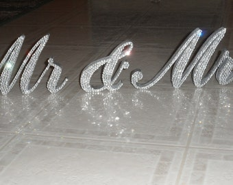 "Swarovski Crystal ""MR & MRS"" 6"" standing sweetheart table sign"