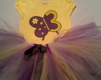 FULL and FLUFFY Purple & Yellow Butterflies Tutu Set