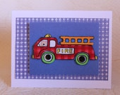 3D handmade card wih red fire engine and cute little bear & vintage buttons