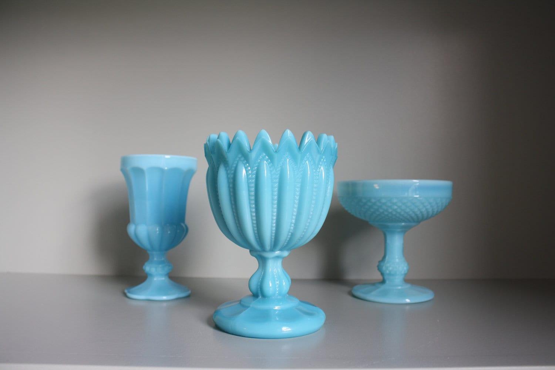 collection of 3 blue milk glass vases. Black Bedroom Furniture Sets. Home Design Ideas