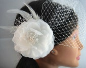 White Feather Bridal Fascinator-bridal fascinator, white fascinator, bridal head piece