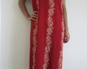 Red with Tan Flower Pattern Dress, Size small only