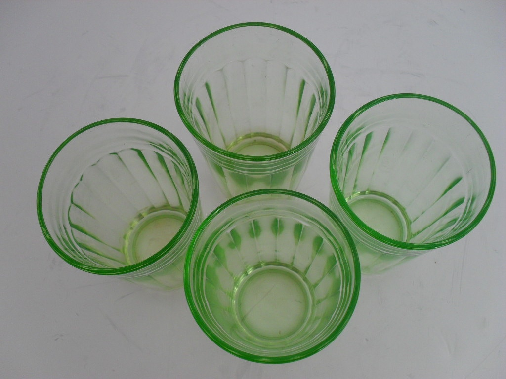 Green depression glass optic panel set of 4 glasses rare c for Most valuable depression glass patterns
