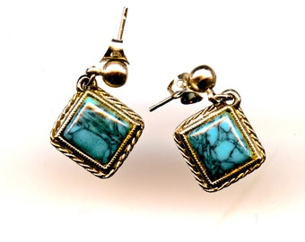 SilverTone and Turquoise Earrings