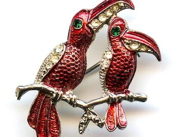 Enamel Toucan Bird Pin with Rhinestone Accents