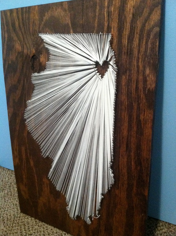20x20 - State String Art - Chicago IL - Wall Hanging - Home Decor
