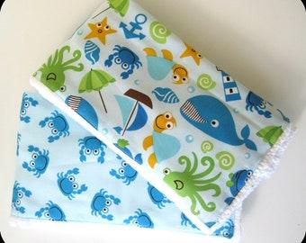 Crab and Sea Creatures Burp Cloth Set