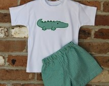 Alligator Applique Shirt and Shorts Set in Green Check