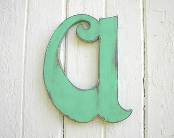 "Decorative Letter 12"" a, wooden lower case handcut hand painted vintage style antique style typeset letters"
