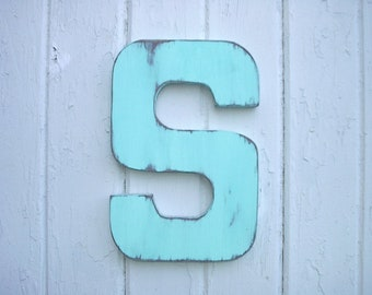 Shabby Chic Rustic Wooden Letter S Wall Art Cabin Cottage Country Decor